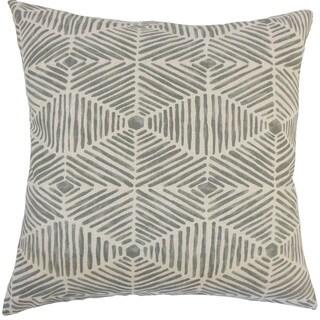 """Iakovos Geometric 24"""" x 24"""" Feather Throw Pillow Grey"""