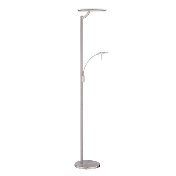 Oberon Series 72-inch Satin Nickel LED Torchiere Floor Lamp With Reading Light