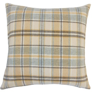 Heaton Plaid 24-inch Down Feather Throw Pillow - Tan
