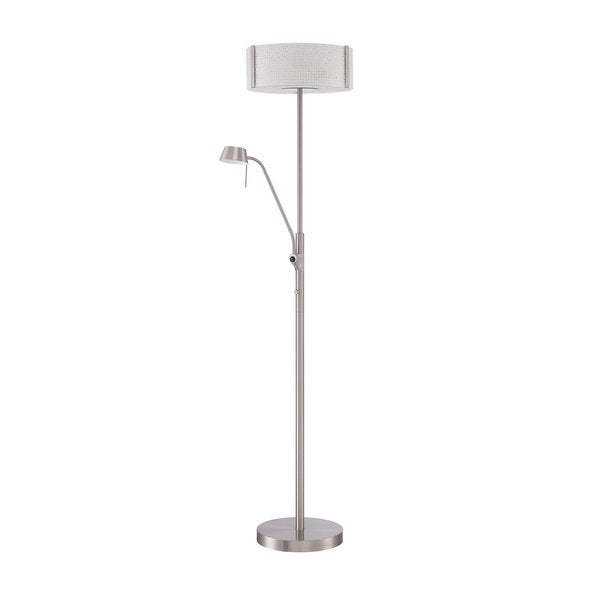 Glacier Series Satin Nickel 70-inch Floorchiere Floor Lamp with Reading Light