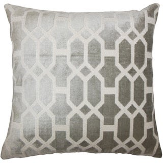 Laine Geometric 24-inch Down Feather Throw Pillow - Grey