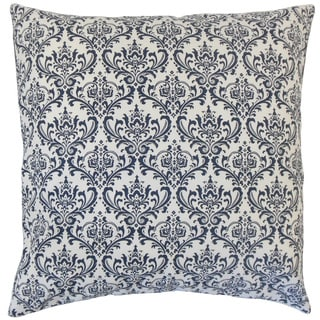 "Paulomi Damask 24"" x 24"" Down Feather Throw Pillow Navy"
