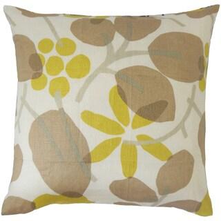 Gambhiri Floral 24-inch Down Feather Throw Pillow - Brown