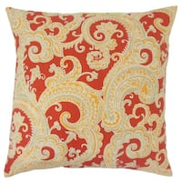Fiachra Paisley 24-inch  Feather Throw Pillow - Flame
