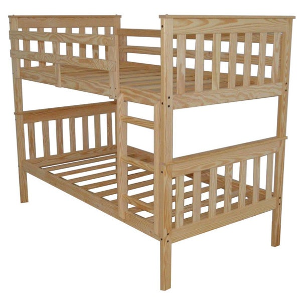 Shop Pine Mission Style Twin Over Twin Bunk Bed Free Shipping