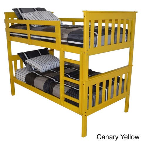Mission Style Twin over Twin Bunk Bed in Pine