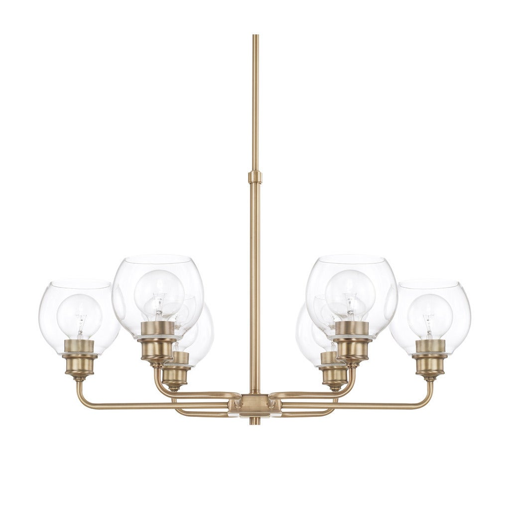 Shop Black Friday Deals On Capital Lighting Mid Century Collection 6 Light Aged Brass Chandelier Overstock 15639884