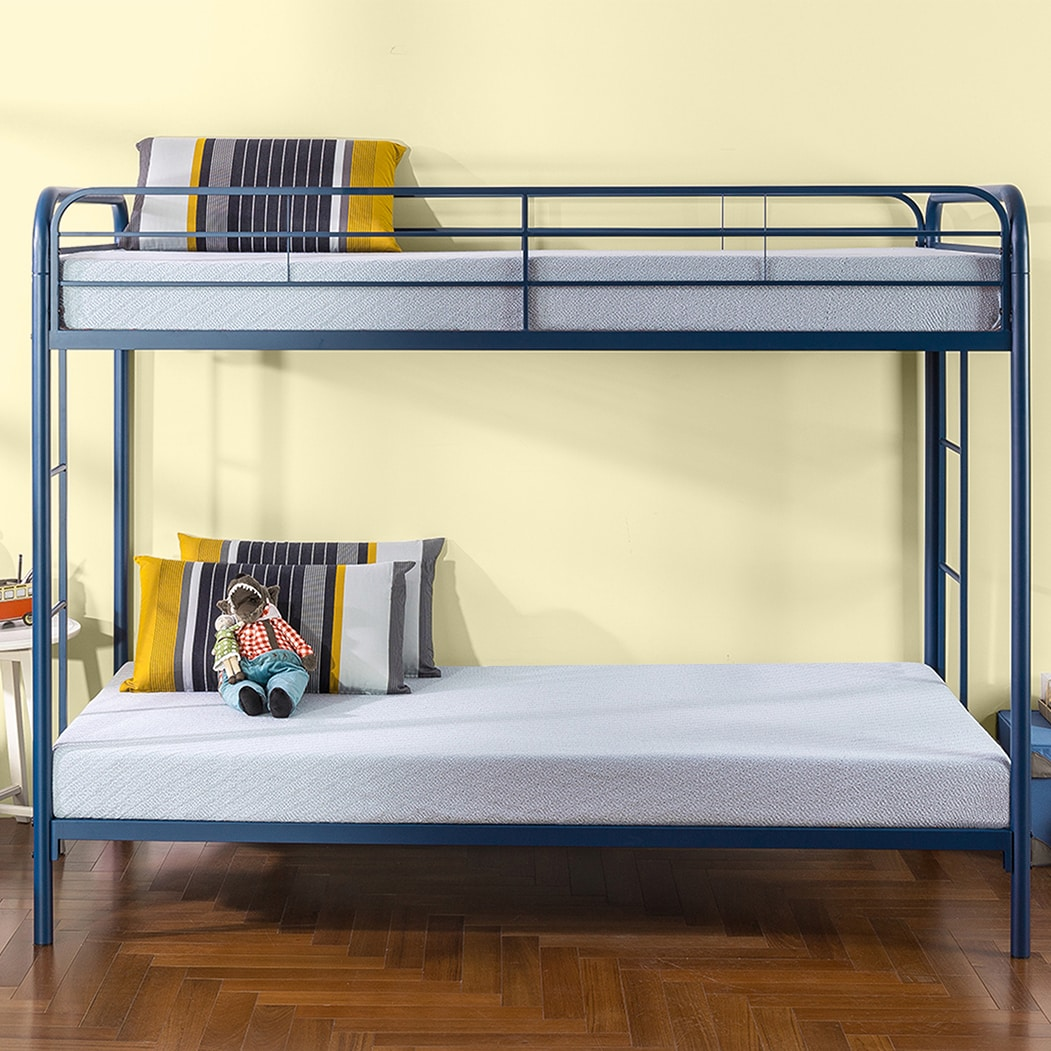 Priage Quick Lock Twin Over Twin Metal Bunk Bed, Navy (Tw...