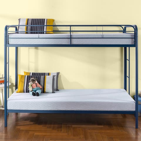 Priage by Zinus Quick Lock Twin Over Twin Metal Bunk Bed, Navy