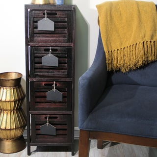 Wood Cabinet with 4 Wood Baskets and Chalk Board