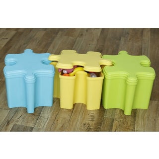 Set of Three Puzzle Piece Shaped Toy Storage Containers with Lids in 3 Colors, Blue, Green, and Yellow