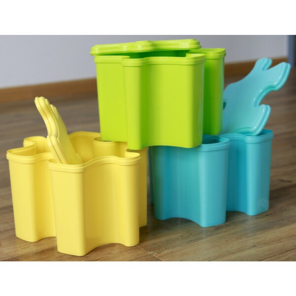 Set Of Three Puzzle Piece Shaped Toy Storage Containers With Lids In 3 Colors Blue Green And Yellow Free Shipping Today 22070971