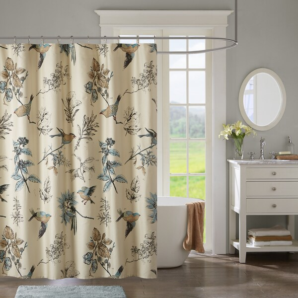 Madison Park Pierce Khaki Printed Cotton Shower Curtain - Free ...