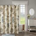 Madison Park Pierce Khaki Printed Cotton Shower Curtain
