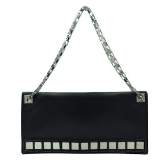 Tomasini Black Leather Mirror-embellished Clutch