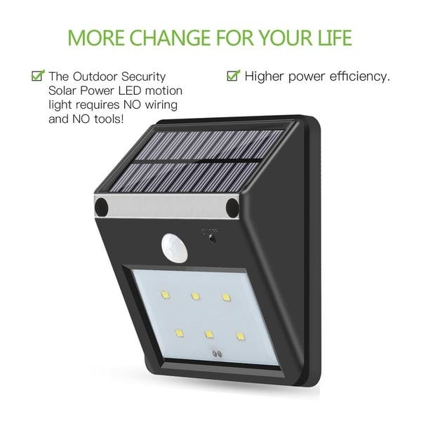 Shop 6-LED Solar Power PIR Motion Sensor Wall Light Outdoor ... on