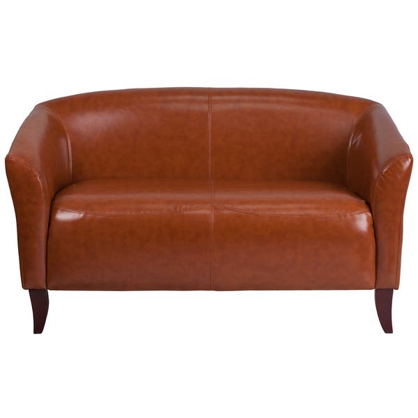 Miraculous Shop Allison Contemporary Cognac Leather Loveseat On Sale Andrewgaddart Wooden Chair Designs For Living Room Andrewgaddartcom