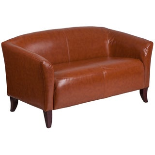 Allison Contemporary Cognac Leather Loveseat