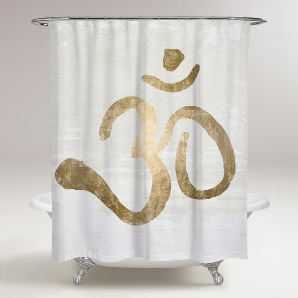 Oliver Gal 'Ohm Gold Blanc' Shower Curtain