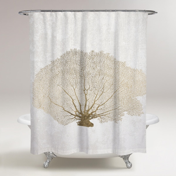 Oliver Gal 'Gold Coral Fan' Shower Curtain