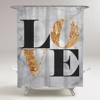 Oliver Gal 'Build on Love Stone' Shower Curtain