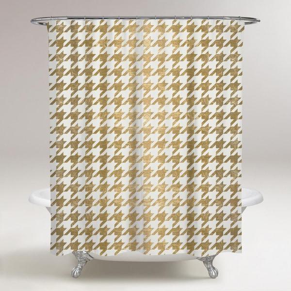 Shop Oliver Gal Golden Houndstooth Shower Curtain