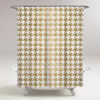 Oliver Gal 'Golden Houndstooth' Shower Curtain