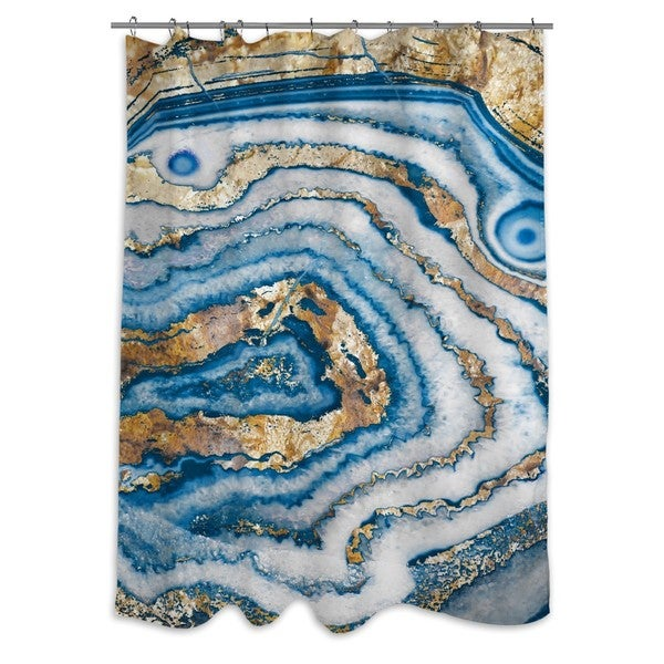 Oliver Gal 'Bleu Agate' Shower Curtain