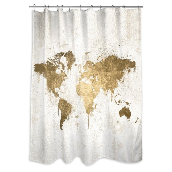 Shop Oliver Gal Mapamundi White Gold Shower Curtain On