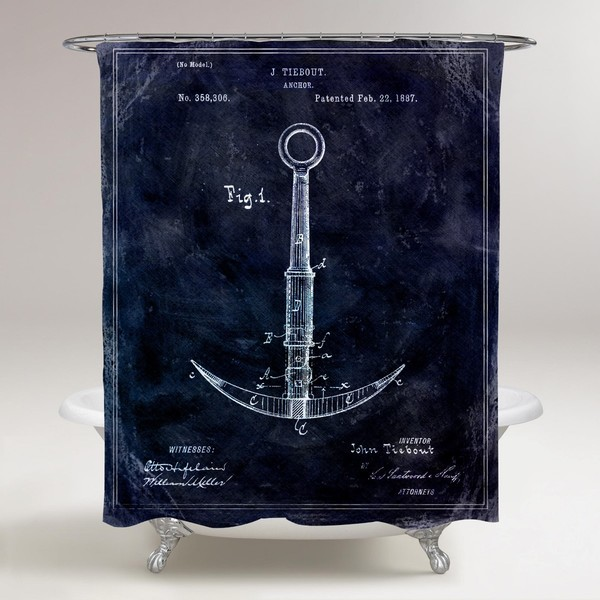 Oliver Gal 'Anchor 1887 - TOM' Shower Curtain
