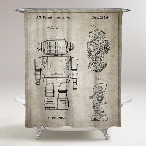 Oliver Gal 'Toy Robot, 1982 - Gray' Shower Curtain