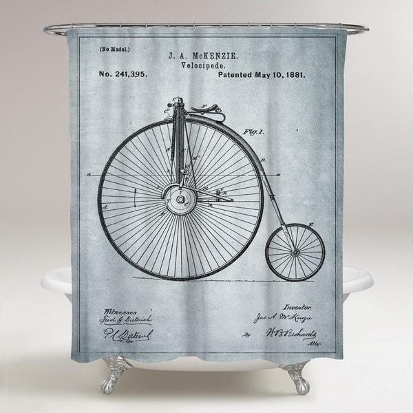 Oliver Gal 'McKenzie Velocipede, 1881 - Gray' Shower Curtain