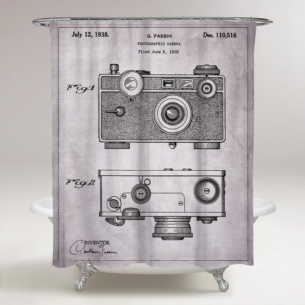Oliver Gal 'Fassin Camera, 1938 - Gray' Shower Curtain
