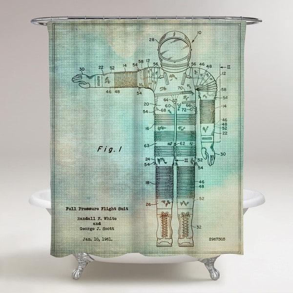 Oliver Gal 'Full Pressure Flight Suit, 1961' Shower Curtain