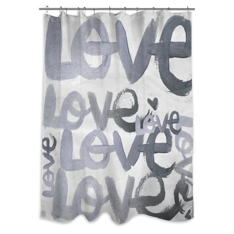 Oliver Gal 'Four Letter Word Silver' Shower Curtain