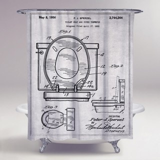 Oliver Gal 'Toilet Seat 1956' Shower Curtain