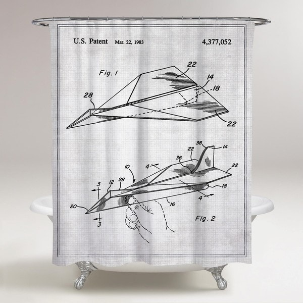 Oliver Gal 'Folded Paper Airplane 1983' Shower Curtain