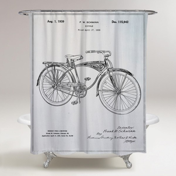 Oliver Gal 'Schwinn Bicycle' Shower Curtain