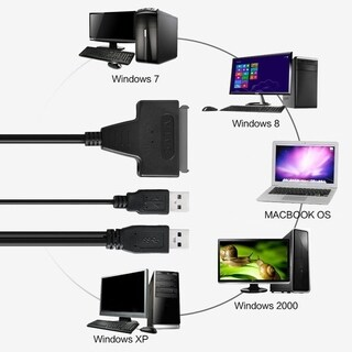 USB 2.0 to SATA 7+15 Pin 22Pin Adapter Cable For 2.5-inch HDD Hard Disk Drive