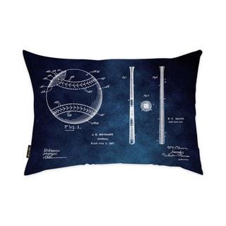 Oliver Gal 'Baseball and Basebat 1927 Chalboard Blue' Decorative Throw Pillow