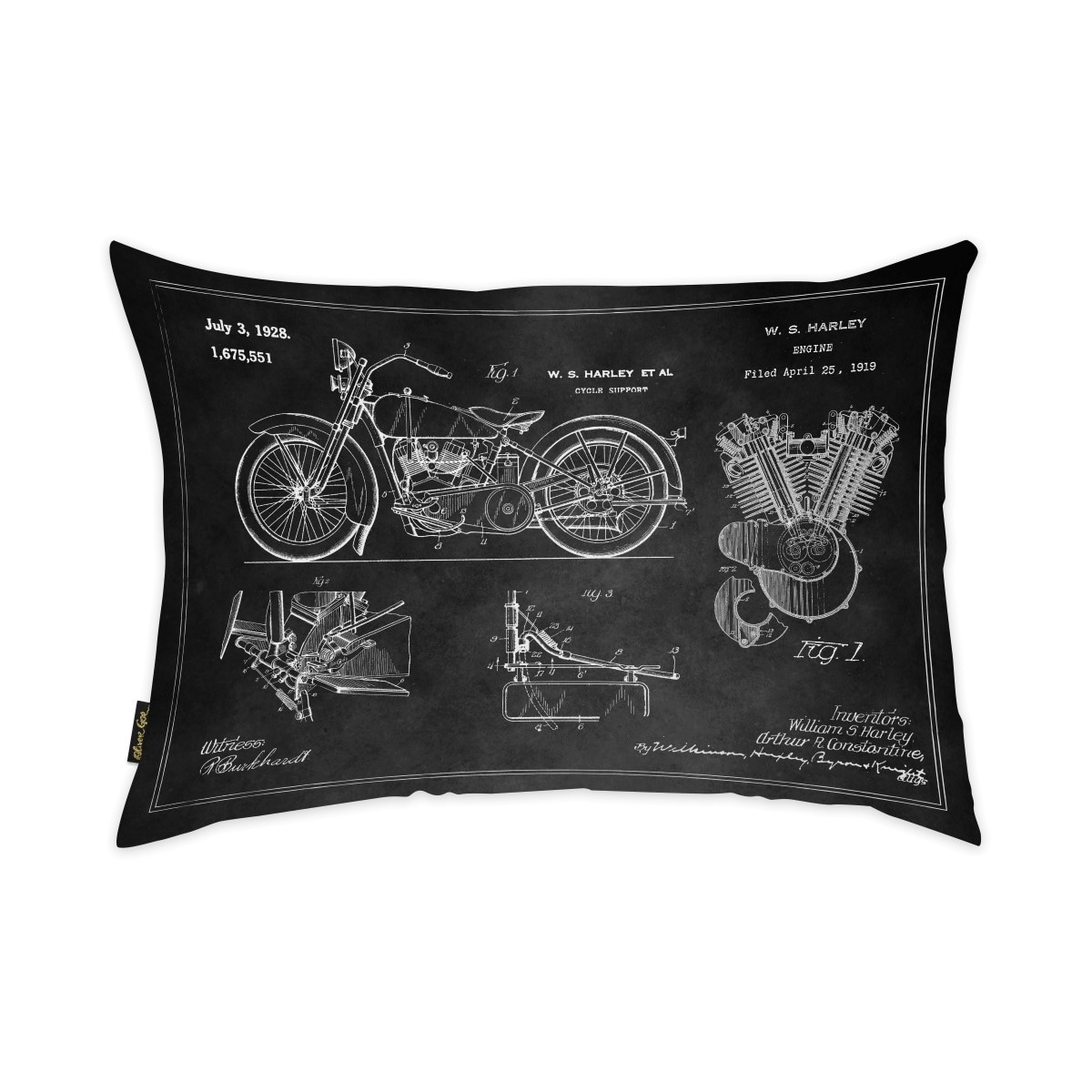 Oliver Gal Harley Engine 1923 Set Horiz Chalkboard  Decorative Throw Pillow