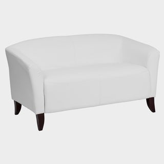 Allison Contemporary White Leather Loveseat