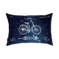 Oliver Gal 'Fryer Driving Gear for Bicycle 1893 Horizontal Blue Chlakboard ' Decorative Throw Pillow
