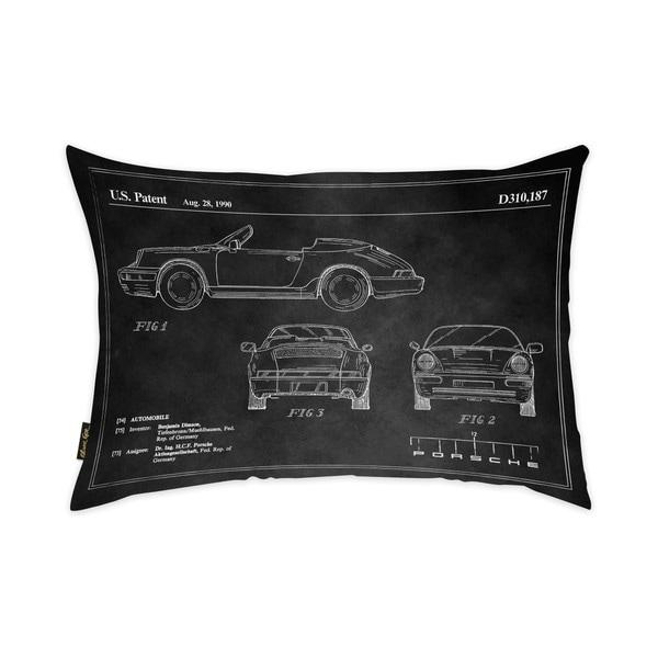 Oliver Gal 'Porsche 911 1990 Horizontal Chalkboard' Decorative Throw Pillow