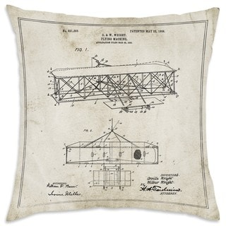 Oliver Gal 'Wright Flying-Machine 1906' Decorative Throw Pillow