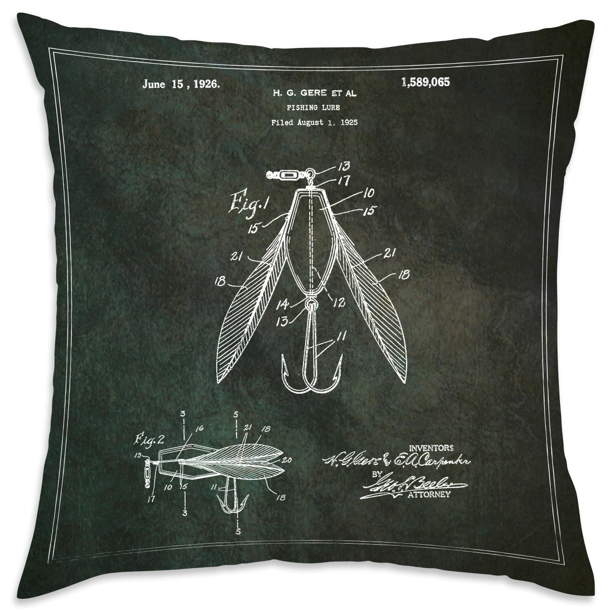 Oliver Gal Fishing Lure 1925 Decorative Throw Pillow