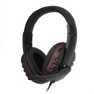 Leather USB Wired Stereo Micphone Headphone Mic Headset
