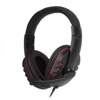 Leather USB Wired Stereo Micphone Headphone Mic Headset
