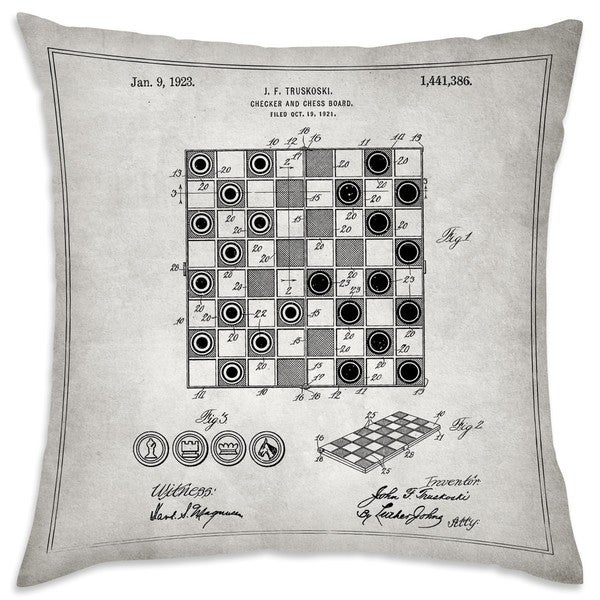 Oliver Gal 'Checker And Chess Board 1923' Decorative Throw Pillow
