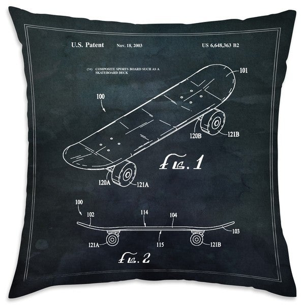 Shop Oliver Gal 'Skateboard 40 TOM' Decorative Throw Pillow Cool Pillow Types Decorative